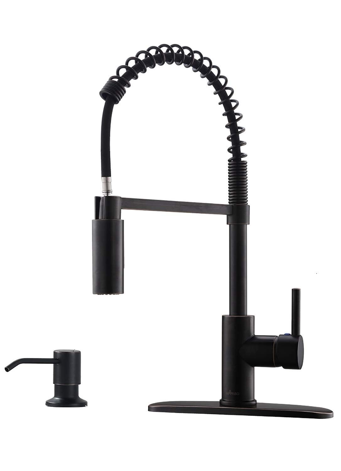 Appaso Commercial Pull Down Sprayer Kitchen Faucet With Soap