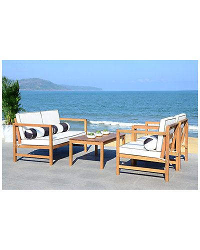 Safavieh Montez 4 Pc Outdoor Set With Accent Pillows ... on Safavieh Outdoor Living Montez 4 Piece Set id=37442