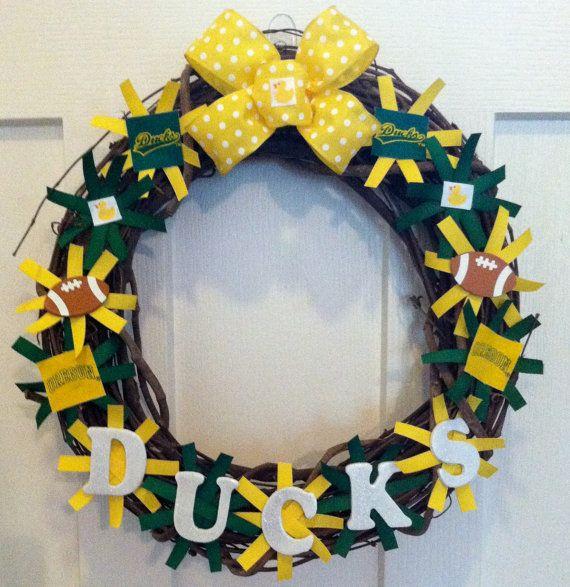Oregon Ducks Football Wreath by DECORbyHLN on Etsy