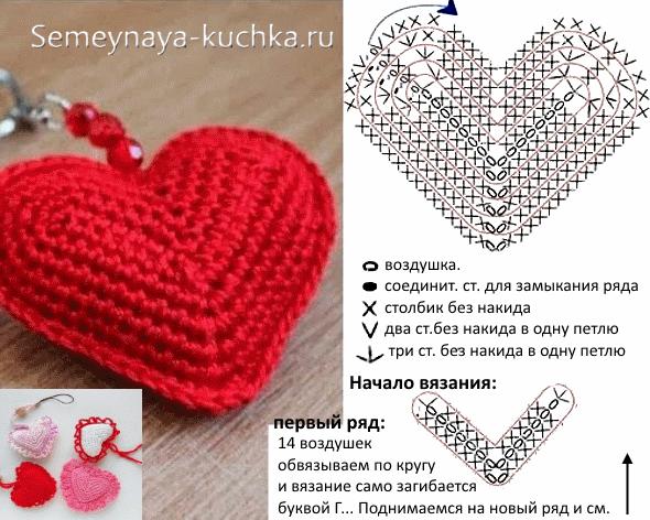 мастер класс вязание сердечка красного с белым Valentines Day