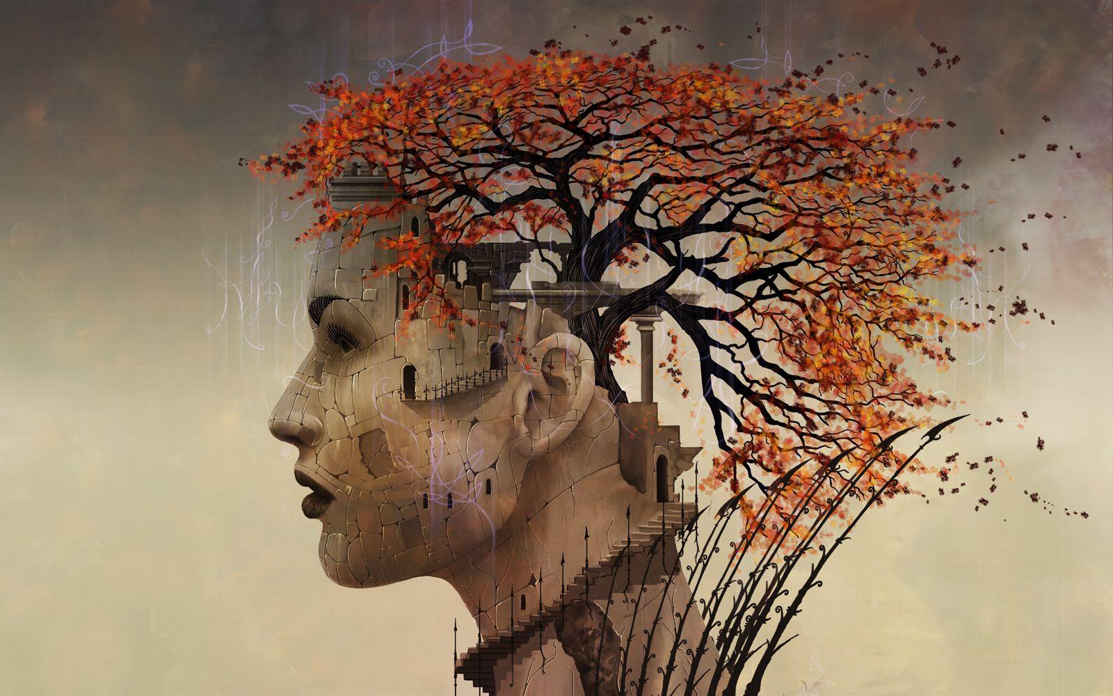 Фон, сюрреалистические картинки деревьев