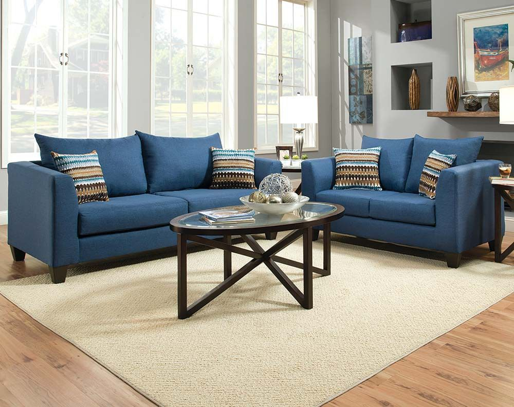 Blue Streamlined Couch Set Factory Select Sofa And Loveseat American Freight Living Room Furniture