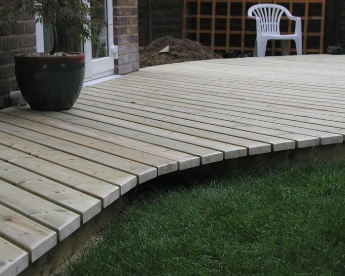 Home decking ideas curved deck in berden straight for B and q timber decking