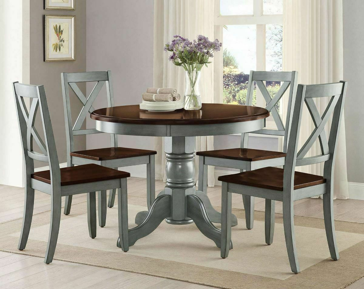 4 People Dining Table Set 5pc Farmhouse 42in Round Kitchen Chairs Farm Furniture Dining Table Ideas Of Dining Table Diningtable Farmhouse Dining Table Set
