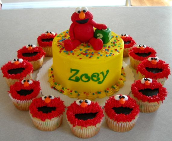 elmo cake and cupcake toppers rezeptideen f r kinder und torten. Black Bedroom Furniture Sets. Home Design Ideas