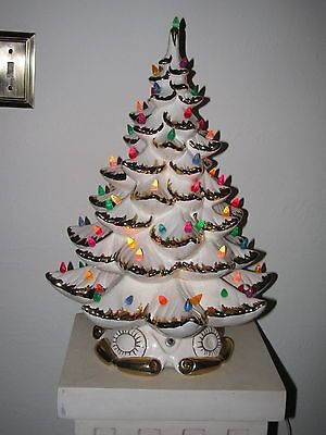 Details About Vintage Lighted Atlantic Ceramic Christmas Tree 18 5
