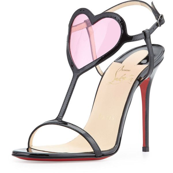 3051a75752 Christian Louboutin Cora Heart Red Sole Sandal ($825) ❤ liked on Polyvore  featuring shoes, sandals, heels, christian louboutin, sapatos, heeled  sandals, ...