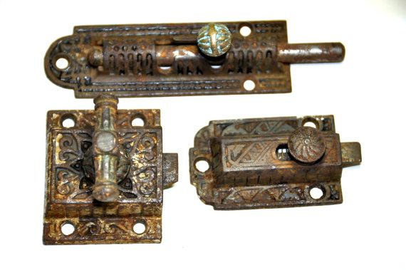 Antique Cabinet Latch. Cast Iron Cabinet Latch. Antique Slide Lock.  Restoration Hardware. - Antique Cabinet Latch. Cast Iron Cabinet Latch. Antique Slide Lock