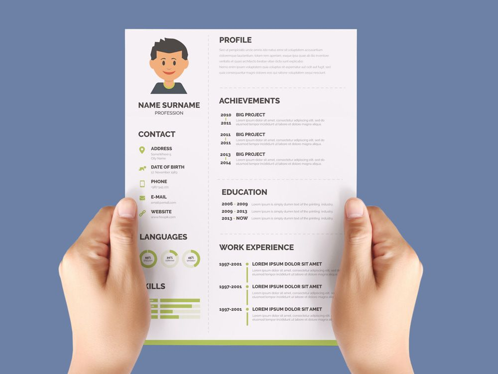 Free Flat Cv Template With Green Color Scheme Green Color Schemes Cv Template Resume Template Free