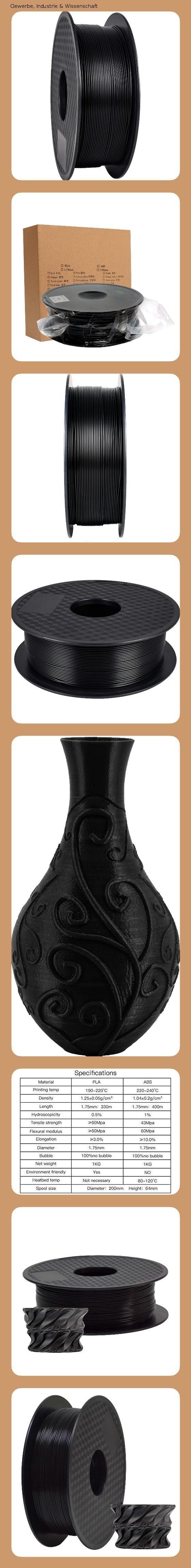 TEQStone PLA Filament 1,75 mm 1 kg/f/ür 3D Drucker und 3D-Stifte/in Vakuumverpackung Sauber Gewickeltes Black//Schwarz