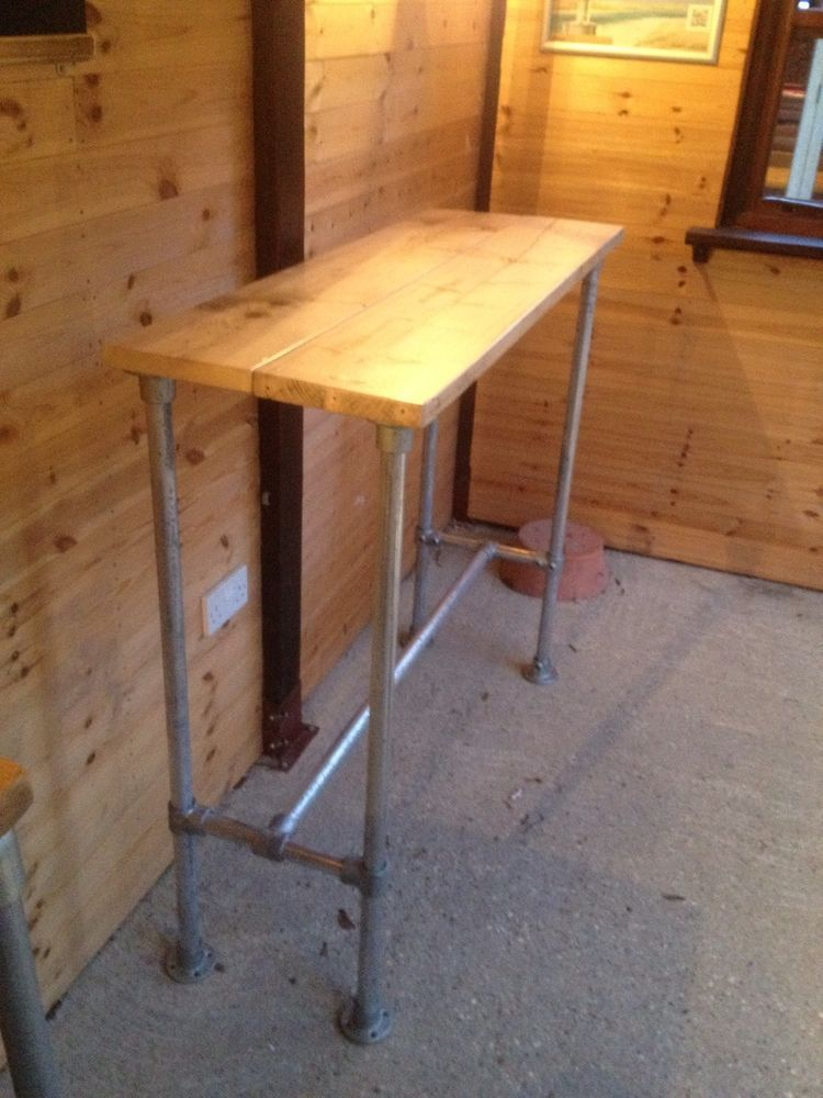 Vintage Industrial Style Table/Breakfast Bar With Steel Legs U0026 Scaffold Top  In Home,