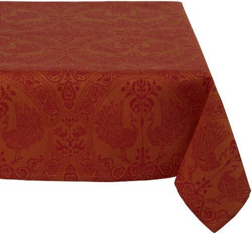 Mahogany Peacock 60-Inch by 60-Inch Orange/Red Square Tablecloth, Cotton Jacquard by Mahogany, http://www.amazon.com/dp/B002S0NHDM/ref=cm_sw_r_pi_dp_uH8Mrb0XN5A7X