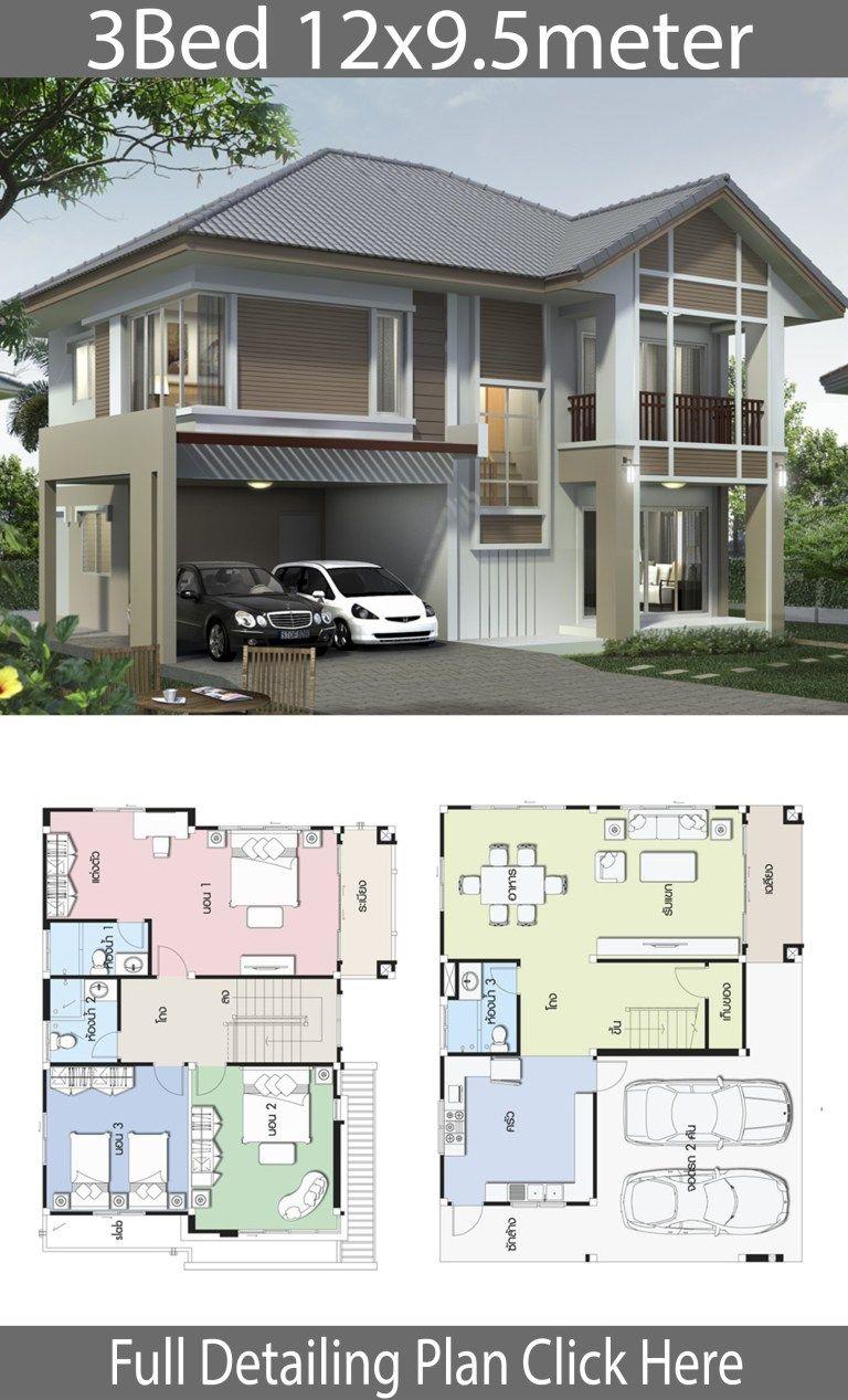 Home Design Plan 12x9 5m With 3 Bedrooms Home Design With Plan House Design Home Design Plan Tiny House Design