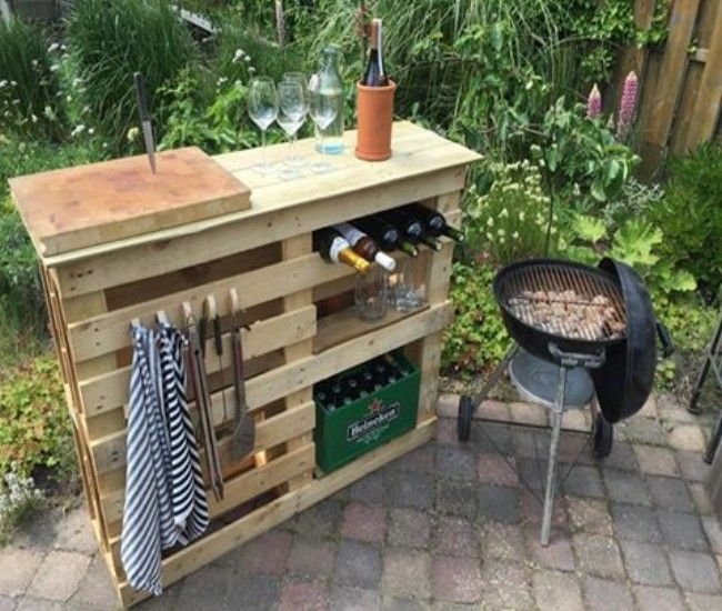 Diy Bbq Side Table With Pallets Terrazas Con Palets Muebles Con