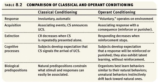 great chart on operant conditioning r r p and p and