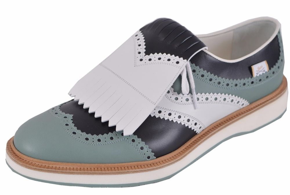 71a4a6cde38 NEW Gucci Men s  990 368438 Colorblock Leather Brogue Fringed Oxford Golf  Shoes  Gucci  Oxfords