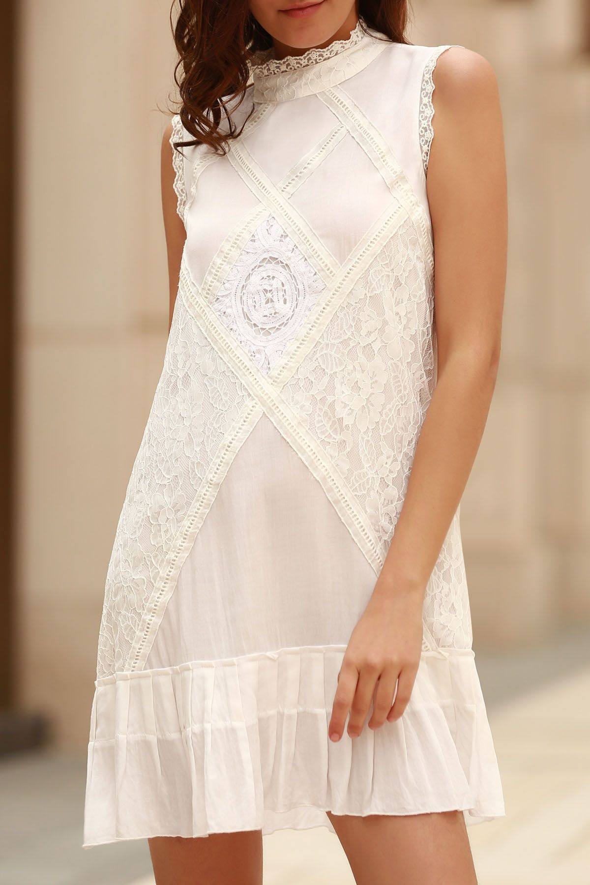 2d0042093 Lace Splice Round Neck Sleeveless Dress WHITE  Dresses 2016