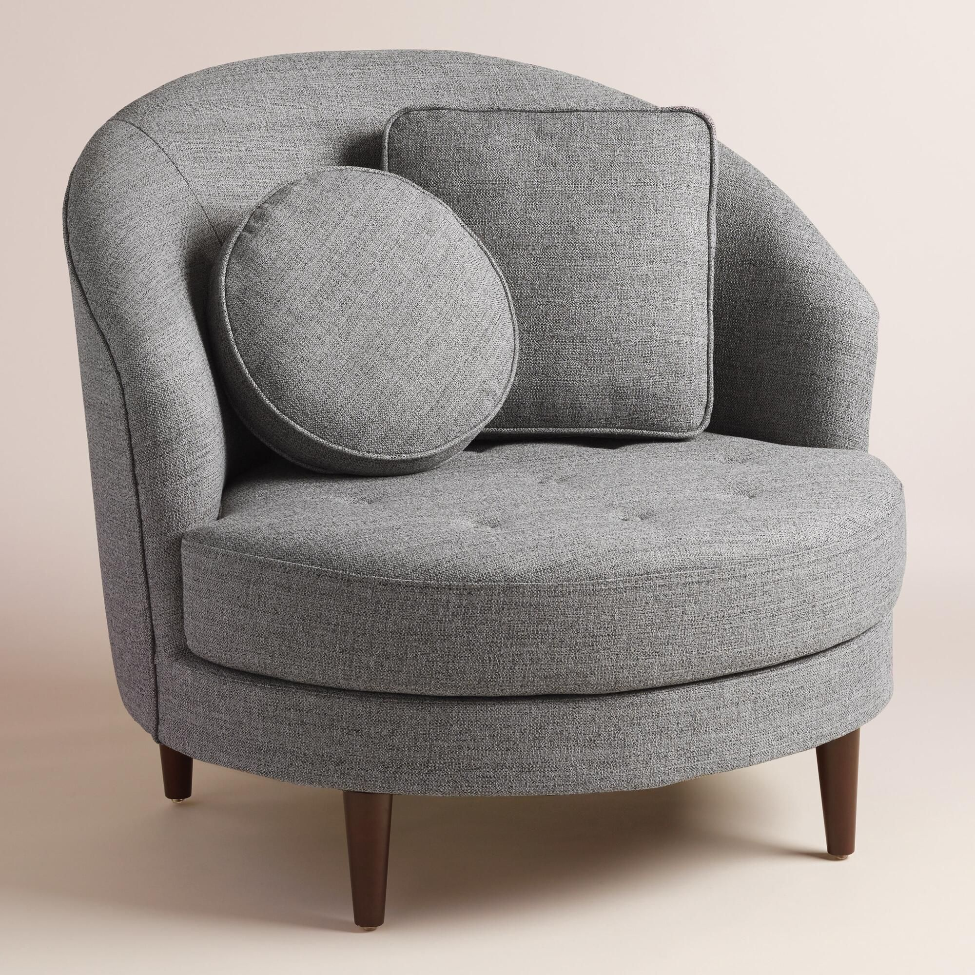 Gray round seren chair and a half chair and a half