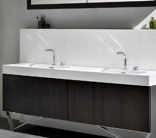 Blu Bathworks Series 1800 Blustone Double Basin Integrated Countertop Basin Double Basin Basin Mixer