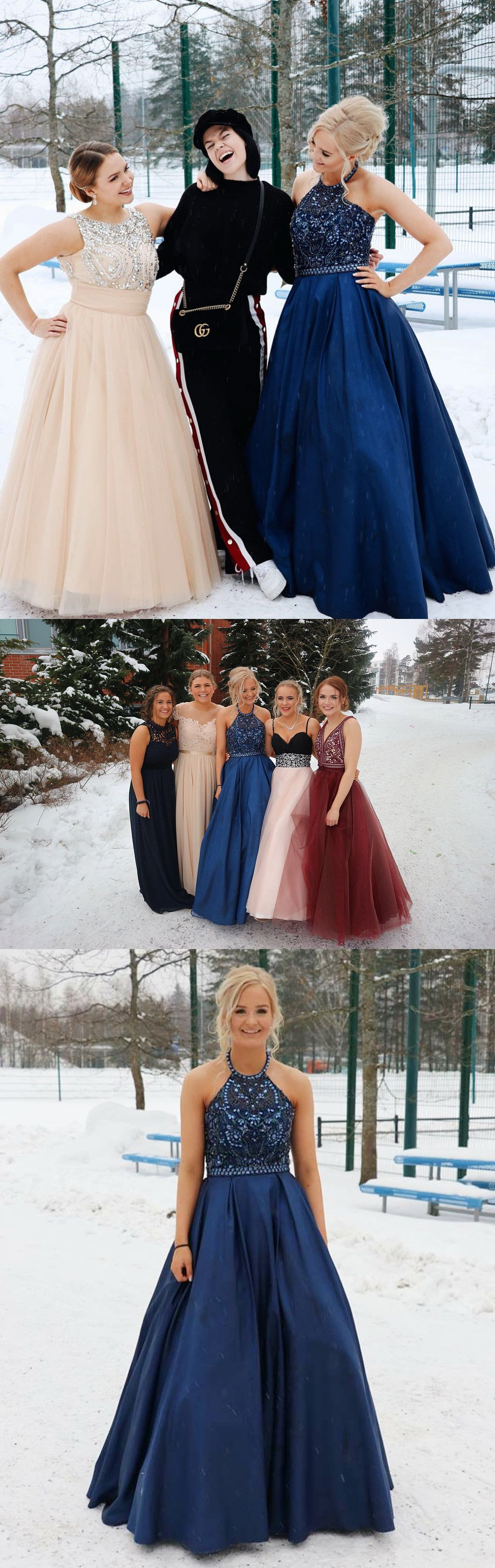 Prom dresses long prom dresses beaded halter navy blue long