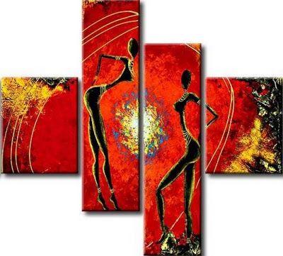 cuadro triptico de negras africanas cuadros modernos al leo