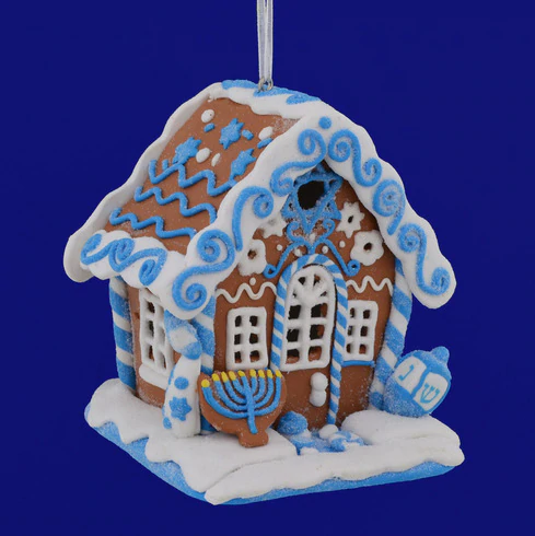Hanukkah Gingerbread House Ornament With Led 3 5 8 Kad3017 In 2020 House Ornaments Gingerbread House Fun Ornaments