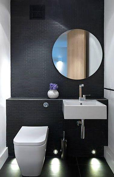 Décoration WC carrelage noir WC suspendu lave-main blanc ...
