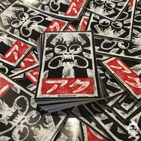 Aku sticker 2 pack samurai jack x obey giant parody slaps street art