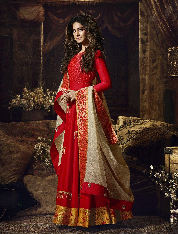 Jennifer winget red floor length partywear anarkali dress indians