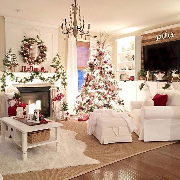 Amazing Red And White Christmas Decorations For The Home Ideas 31 Christmas Decorations Christmas Interiors White Christmas Decor