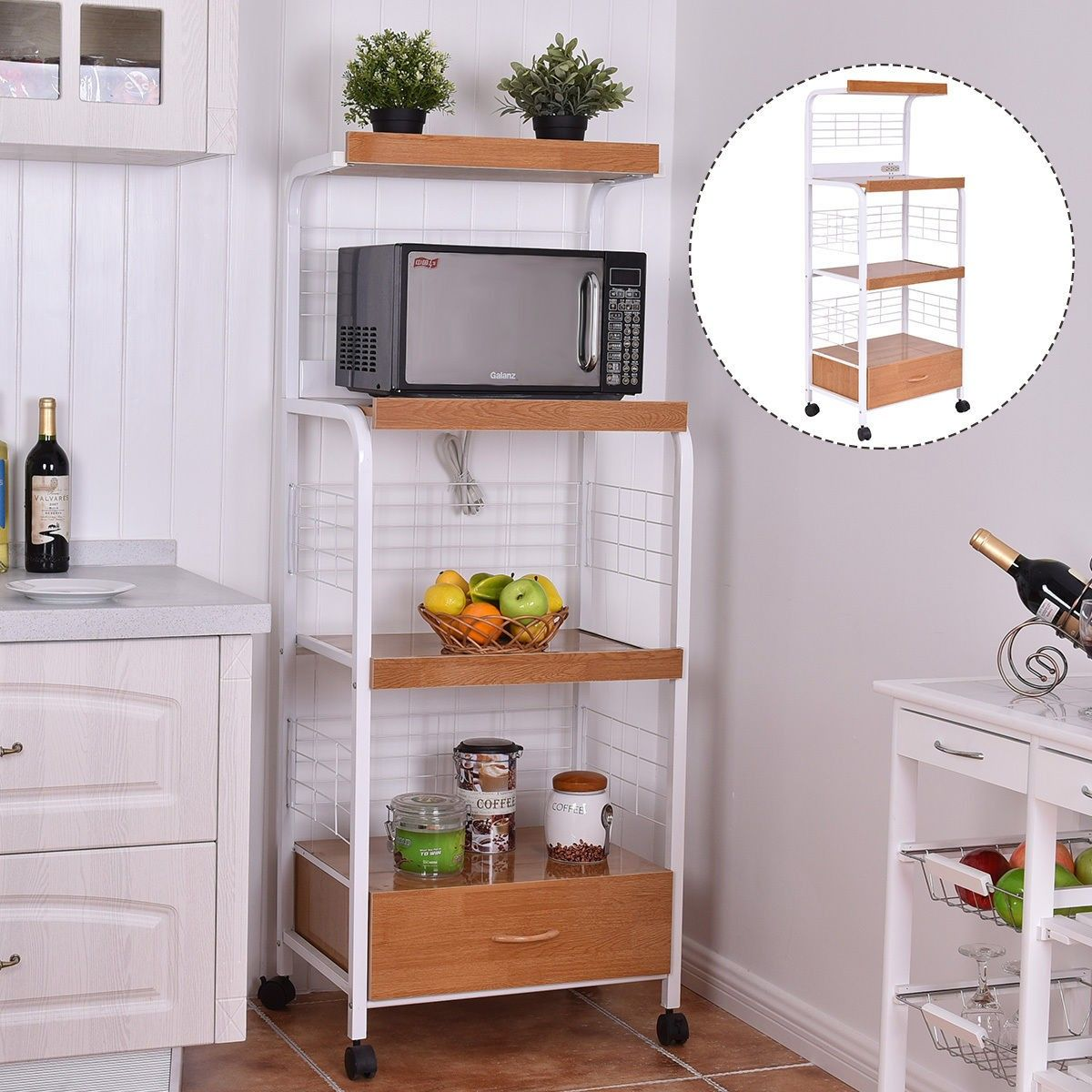 3 Tier Rolling Kitchen Microwave Oven Stand Cart With Electric