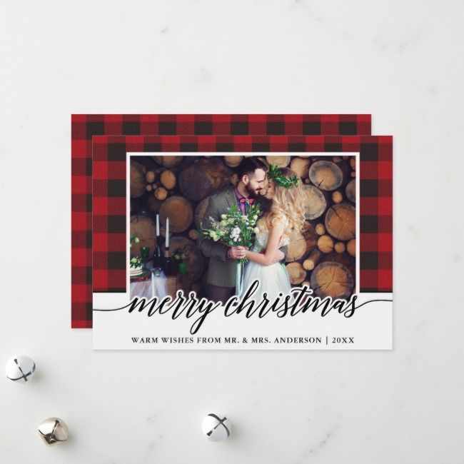 Red Plaid Calligraphy Wedding Merry Christmas Holiday Card | Zazzle.com