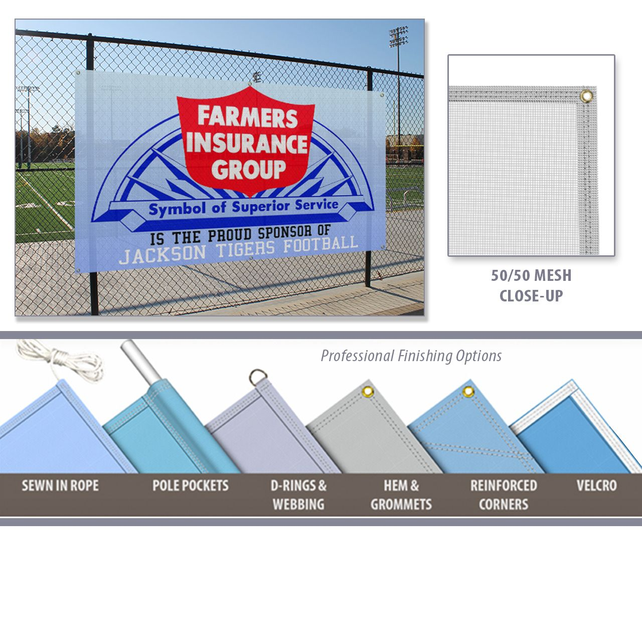 Pin By Twin Graphics On Banners Mesh Banner Banner Farmers Insurance