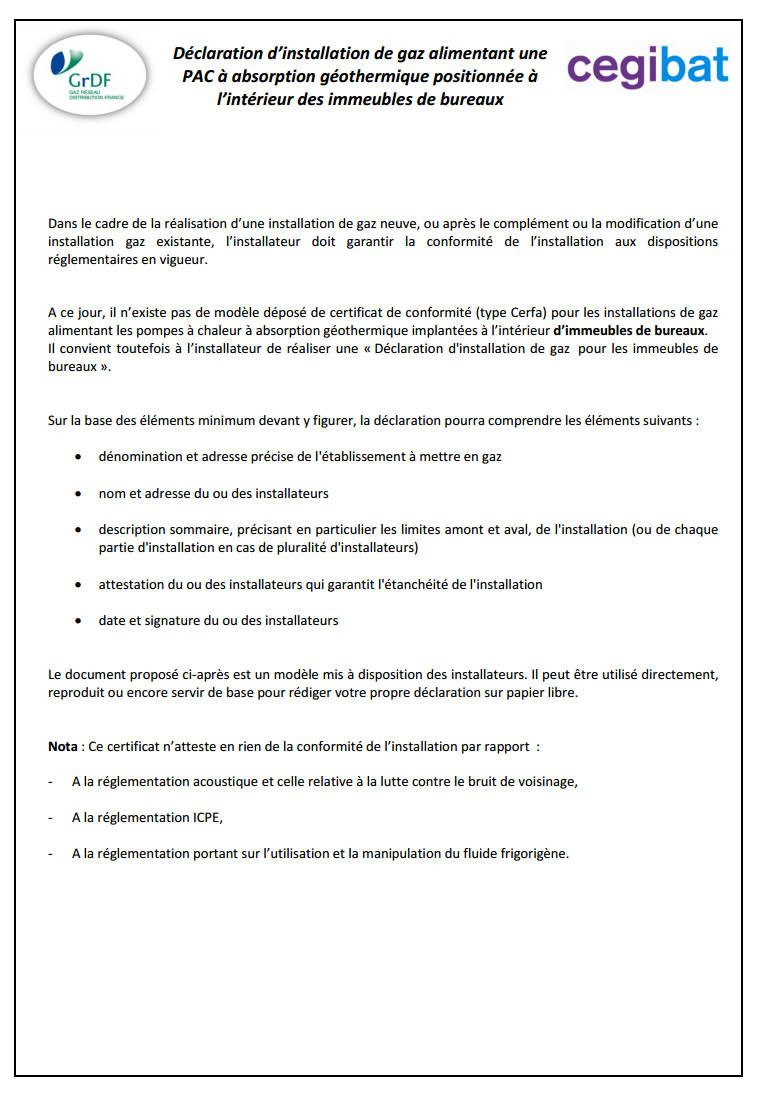 Attestation Sur L Honneur Pac Gaz Gothermique Tertiaire