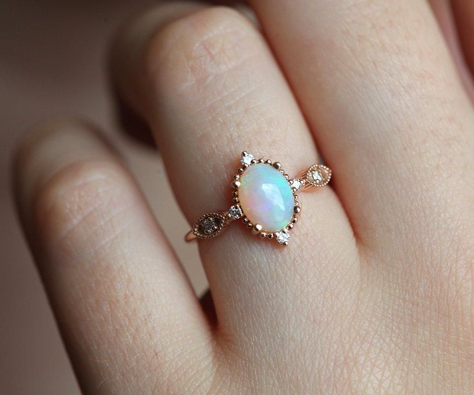 Florence Australian Opal Engagement Ring Rose Gold Opal Ring Engagement Rings Opal Rose Gold Opal Ring Rose Engagement Ring
