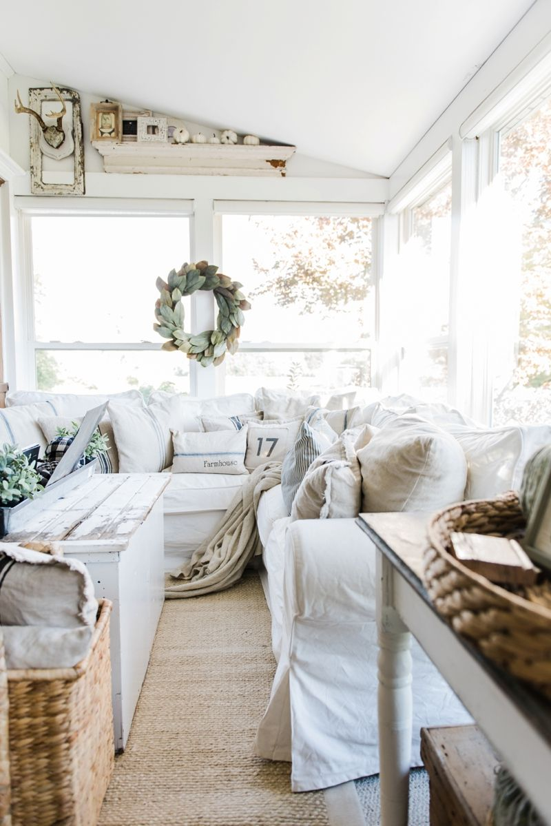 Cozy farmhouse fall sunroom sunroom cozy and neutral for Farmhouse sunroom ideas