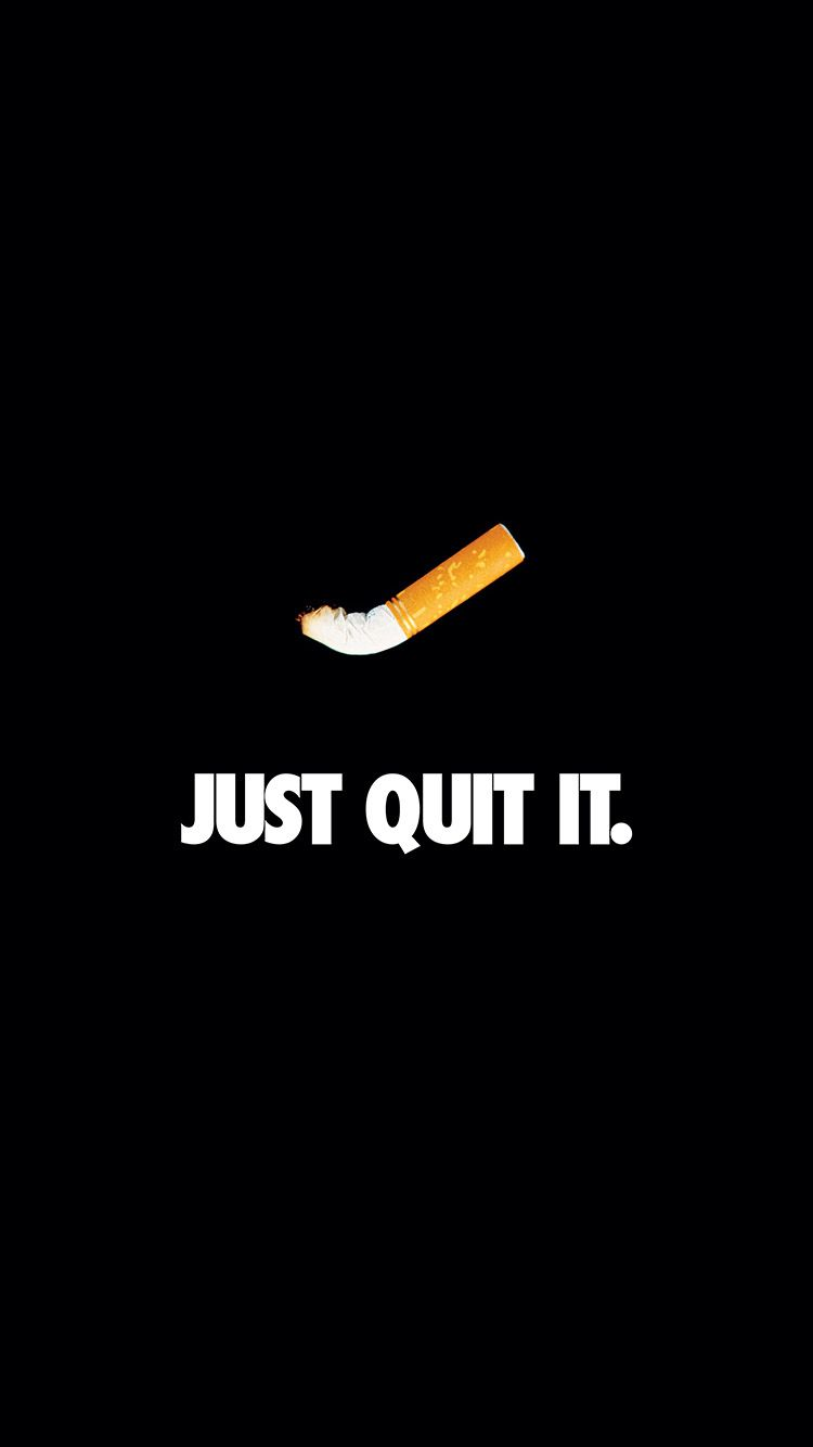 JUST QUIT IT NIKE SMOKING ART MINIMAL DARK WALLPAPER HD IPHONE