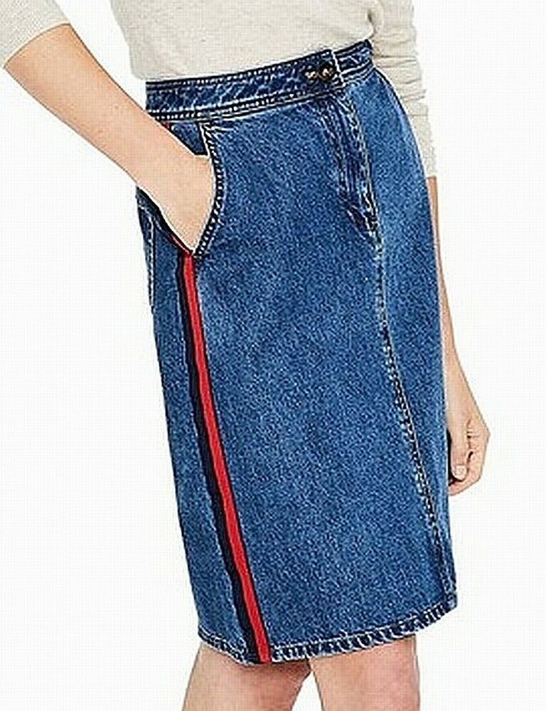 237359271a Boden NEW Blue Red Womens Size 12 Verticle Striped Denim Pencil Skirt $90  254 #fashion