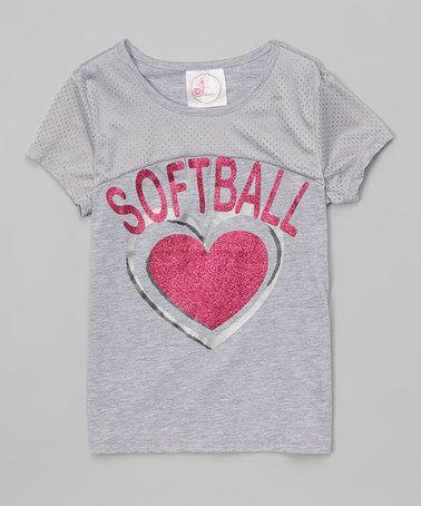 This Heather Gray 'Softball' Glitter Heart Tee - Girls is perfect! #zulilyfinds