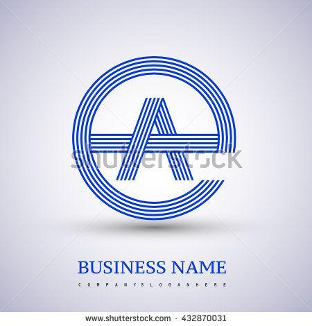 Letter Ea Or Ae Linked Logo Design Circle E Shape Elegant Blue