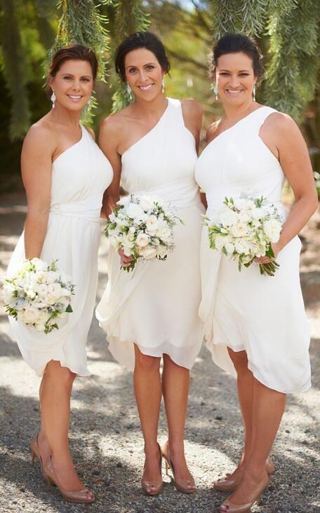 one shoulder bridesmaid dress, short bridesmaid dress, white ...