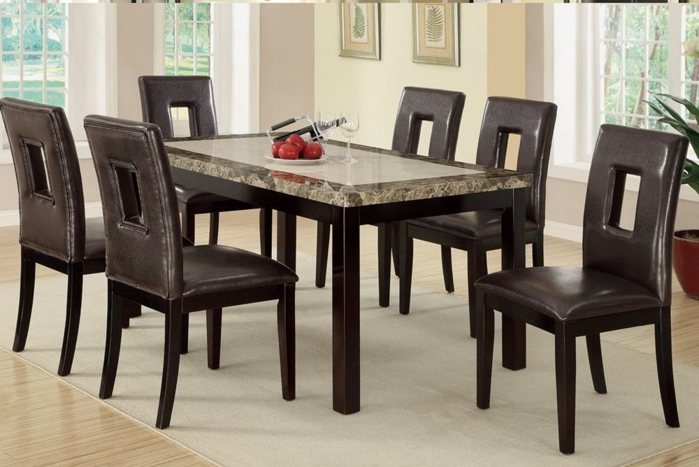 Dining table w marble top 7piece faux leather chairs home