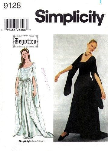 Simplicity 9128 Ethereal Fitted Dress 2000 / SZ12-18 UNCUT