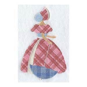 PLAID PRINT UMBRELLA Girl - Machine Embroidered Quilt Blocks (AzEB)