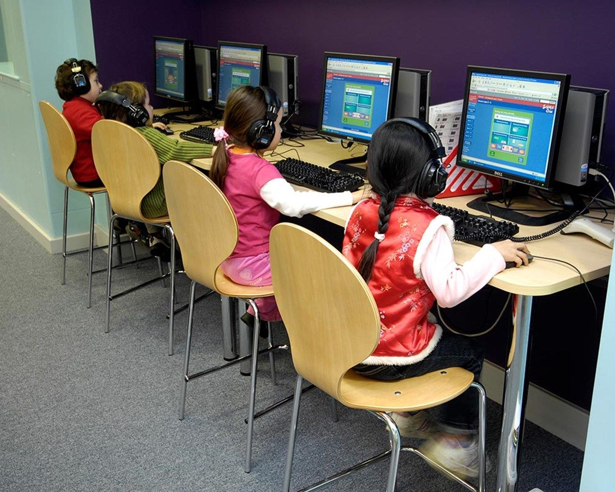 Computer desking with high back chairs, part of our primary school ...