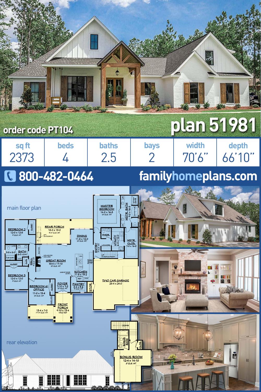 Photo of Modern Farmhouse Style House Plan 51981 with 4 Bed, 3 Bath, 2 Car Garage