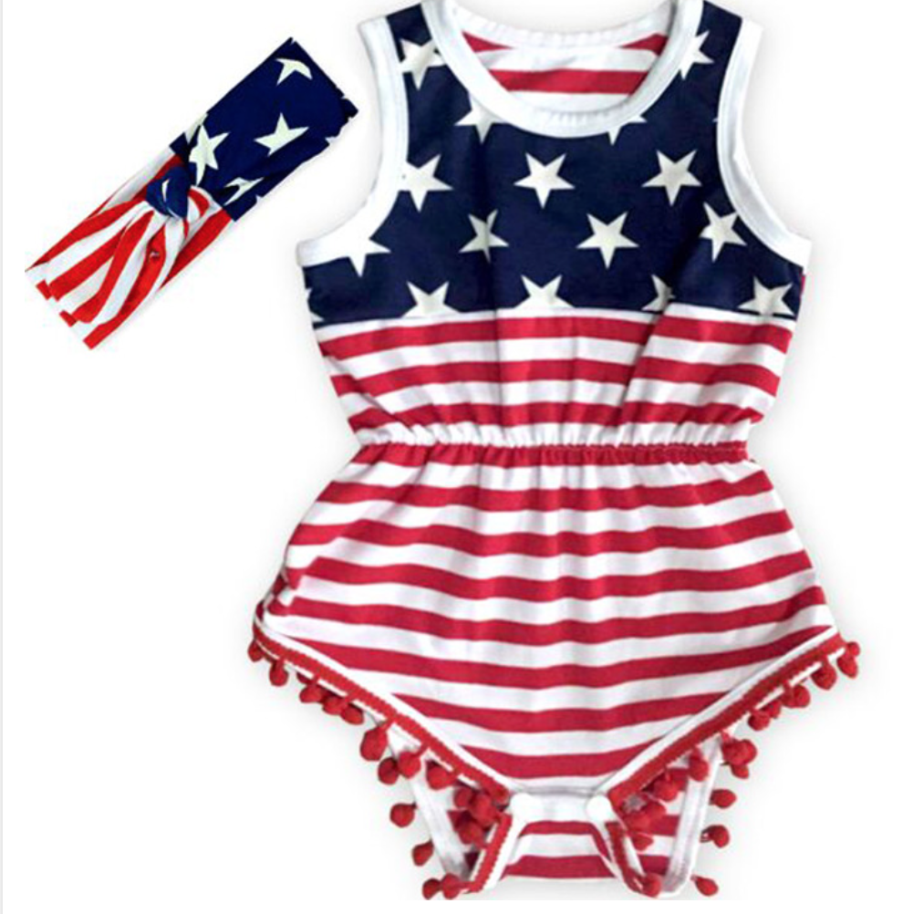 c5e7e018451e Born in America Baby Romper and Headband set! Only  21! Grab a children s  4th of July outfit at www.jaxeandgraceboutique.com