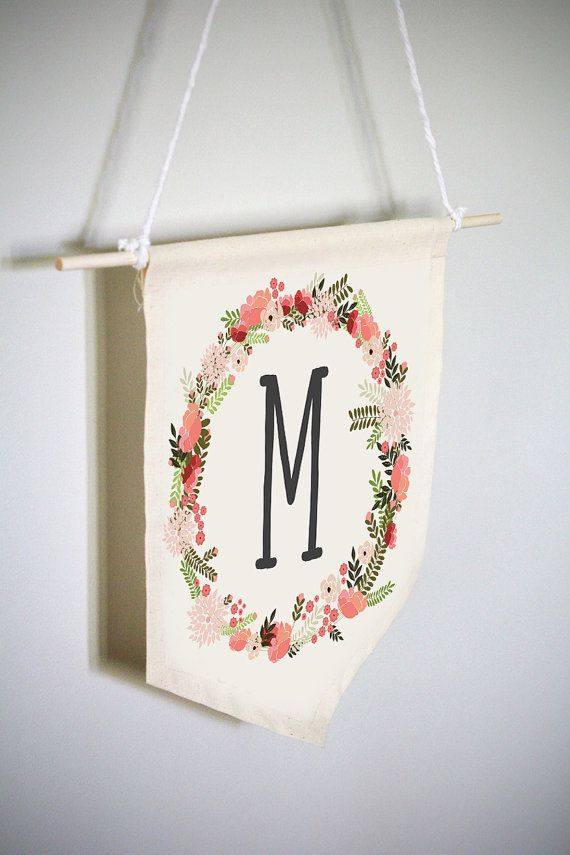 Baby Initial Wall Hanging Custom Nursery Wall Hanging Baby Room Wall Hanging Initial Wall Hanging Floral Letter Banner Fabric Wall Art Fabric Wall Art Custom Nursery Floral Letters