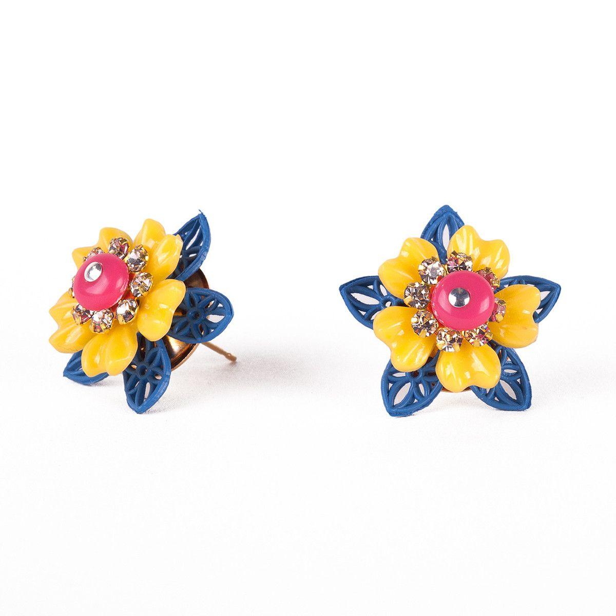 brincos coloridos flor