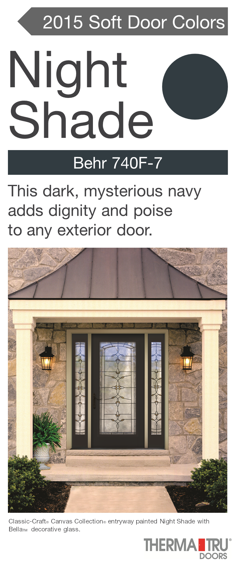 Classic Craft Canvas Collection Fiberglass Door Painted Night Shade